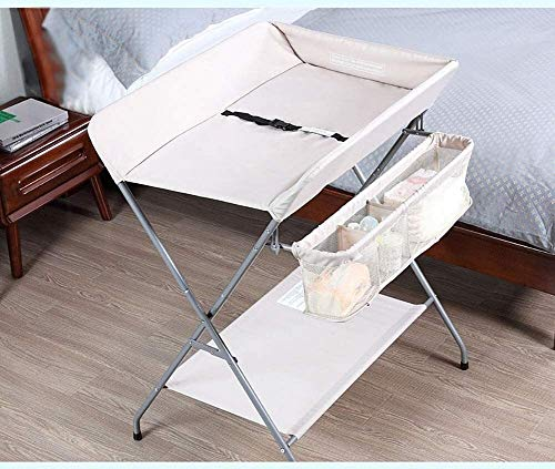 WJMLS Diaper Changing Tables,Diaper Stackers Caddies, Folding Baby Changing Table Travel, Children Portable Diaper Station, Girl Boy Nursery Organizer for Infant (Color : Beige)