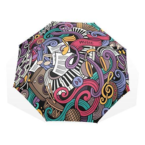 LASINSU Paraguas Resistente a la Intemperie,protección UV,Música Temática Dibujado a Mano Instrumentos Abstractos Micrófono Batería Teclado Stradivarius