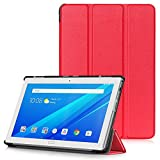 Lenovo Tab4 10 Plus Hülle - Ultra Dünn PU Leder Schutzhülle mit Standfunktion & Auto Aufwachen/Schlaf Funktion für Lenovo Tab4 10 Plus 25,654 cm (10,1 Zoll) Tablet-PC, Rot