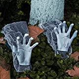 """Eunvabir Halloween Zombie Hands Graveyard Decorations, 24"""" Scary Fake Hands Arm for Outside Outdoor Lawn Yard Decor Graveyard Party Supplies"""