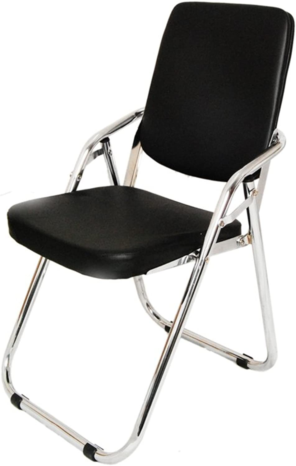 Folding Chair high Chair Office Chair Conference Chair Staff Chair Thickened Cushion Kitchen Furniture (color   Black)
