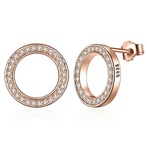 VWU Damen Mädchen 925 Sterling Silber Ohrringe Pflastern Runde Zirkonia Offener Kreis Ohrstecker Ohrhänger Für Frauen Mit Kasten (Rose Gold Überzogen)