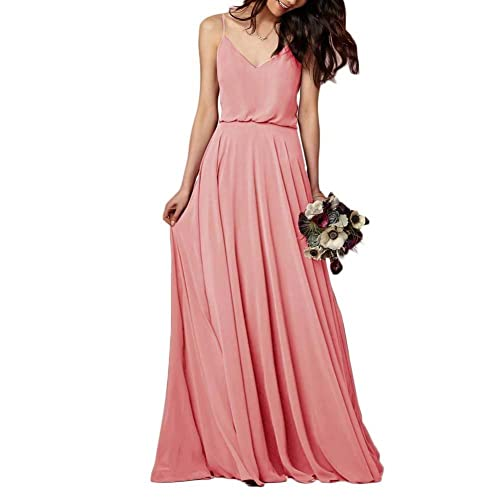 642824bb10 EverLove Women s Long Spaghetti Straps Prom Dress Chiffon Bridesmaid Dresses