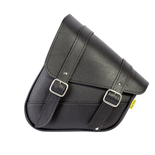 Dowco Willie & Max 59776-00 Triangulated Synthetic Leather Motorcycle Swingarm Bag: 9 Liter Capacity, Black w/Chrome Buckles