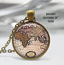 14 globe and map themed accessories for women marocmama map necklace world map jewelry gumiabroncs Image collections