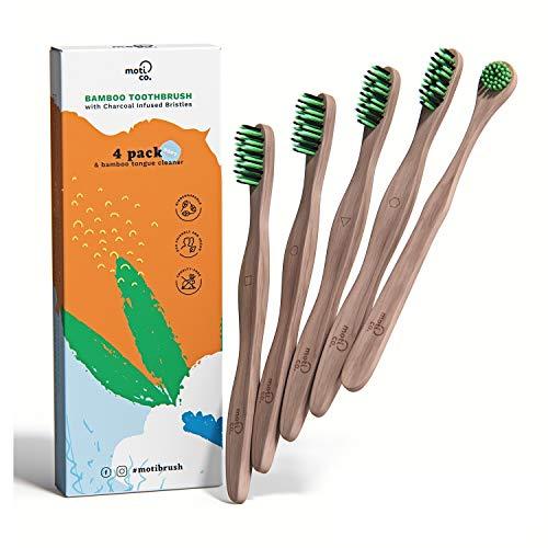 Confezione da 4 spazzolini da denti in bambù - Regalo per la pulizia della lingua - Setole di carbone morbide - Ecologiche e biodegradabili - Denti e pianeta più sani di Moti Co.
