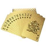 healthwen Juego de Cartas de póquer con lámina Dorada, Juego de...