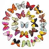 100 pezzi Bottoni in Legno, colorati assortiti floreali Farfalla, con 2 Fori Bottoni In Legno Di Modello Colorato Per Cucito Scrapbooking DIY Mestiereper