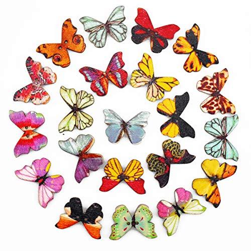 100 Stück Knöpfe, 22mm Schmetterling Holzknöpfe Bastelknöpfe Nähknopf Kinderknöpfe mit 2 Löcher, Gemischte Multicolor Holz Tasten Schmetterlingsknöpfe zum Basteln, Nähen, Handwerk, DIY Basteln, Deko