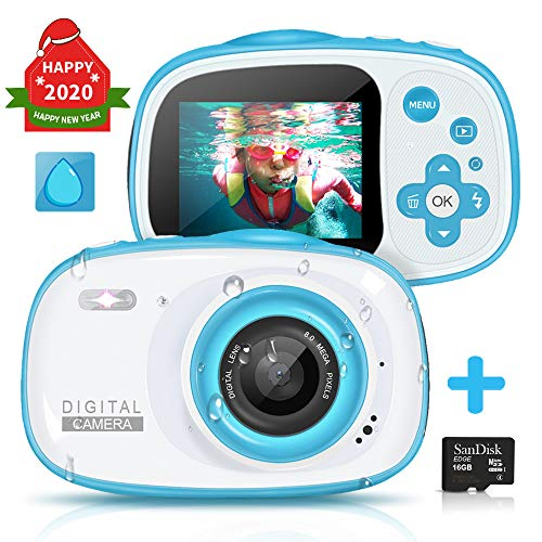 Kids Waterproof Digital Camera, 6X Digital Zoom 8MP HD Underwater Action Camera Camcorder with 2-inch LCD Display-Best Gift for 4-10 Years Old Girls Boys Party Outdoor Swimming, 16GB TF Card Included