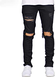 Side Zipper Stretch Men Skinny Jeans Fashion Casual Hip Hop Hole Ripped Jeans