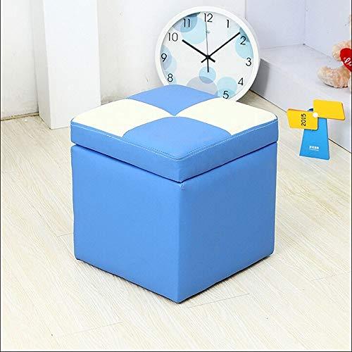 Zitzak van leer, voetensteun, kruk, voetensteun, voetensteun, kruk, zitkruk, ruitstoel, voor volwassenen F0111 Blauw Wit