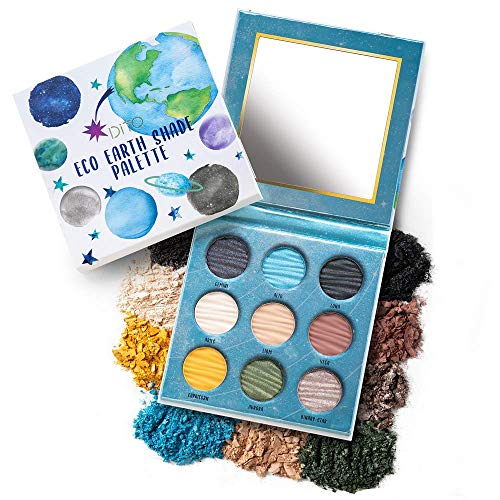 Dito Eco Earth Shade 9 Color Eyeshadow Palette Insanely Pigmented Matte And Shimmer With Moody Blues and Greens, Deep Neutrals - Gluten Cruelty Free, Vegan Born in Los Angeles