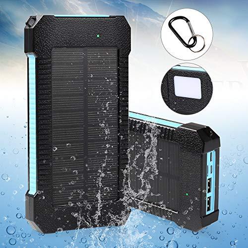 infinitoo 20000mAh Solar Ladegerät Powerbank Externer Akku mit LED-Licht & Haken, Micro Dual Input, 3 Ausgänge und Type-C für iPhone,Samsung,iPad,und andere Smartphones/Handys,Wasserdicht IP65