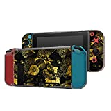 Dockable Case Compatible with Nintendo Switch Console and Joy-Con Controller, Patterned ( Golden Japanese fan, flower and unbrella ) Protective Case Cover with Tempered Glass Screen