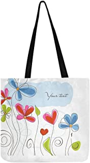 Flowers Postcard Heart Canvas Tote Handbag Shoulder Bag Crossbody Bags Purses For Men And Women Shopping Tote