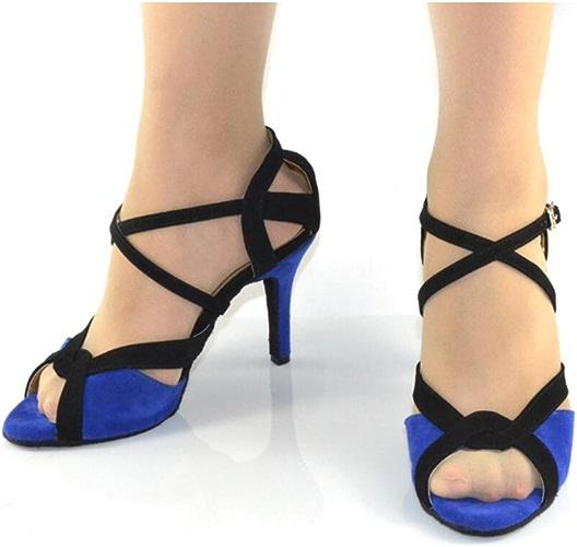 XUE Chaussures Latino Chaussures de Bal pour Femmes Satin Silk Sandal Intérieur Professionnel Boucle Chaussures de Danse à Talons Party & Soirée Bleu foncé (Couleur   Une, Taille   35)