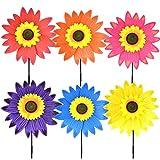 SomeTeam Sonnenblume Windmühle Windrade als Geschenk für Kinder zum Spielen oder als zarte Dekoration für Kindergärten, Gärten, Kinderzimmer, Partys oder Schaufenster,6pcs
