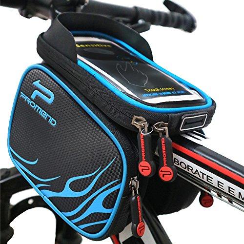 XBoze MTB BMX Borsa Bicicletta Impermeabile Borsa Telaio Bici Tubo Telaio Doppio Sacchetto Bici Supporto del Telefono con Touch Screen per 6,2 Pollici Smartphone (Nero)