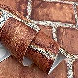 17.7' x 197' Red Brick Peel and Stick Wallpaper Faux Brick Wall Paper Removable Self Adhesive Stone Wallpaper Decorative Fireplace Kitchen Shelf Liners Backsplash Vinyl