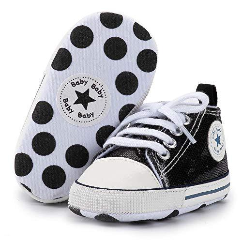 Babycute Lauflernschuhe aus Segeltuch, weiche Sohle, Freizeit-Sneaker für Babys, Jungen und Mädchen, zum Schnüren, A2 Twinkle Black, 6-12 Monate