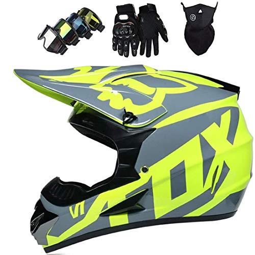 Conjunto de casco de motocross (guantes/gafas/máscara), casco de motocross enduro todoterreno, casco de motocross ATV Downhill Dirt Bike, casco integral MTB BMX Quad para moto, con diseño Fox