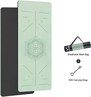 YOGA MAT NASDI/® Eco-Friendly Non-Slip TPE Pilates Gym Exercise Sport Living Room Pads for Fitness Body Building with Position Line Green