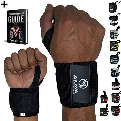 AKAYA Handgelenk Bandagen + Gratis eBook & Anleitung   Wrist Wraps 45 cm Länge   Handgelenkbandage für Fitness, Kraftsport, Bodybuilding & Crossfit - für Frauen und Männer geeignet   Schwarz