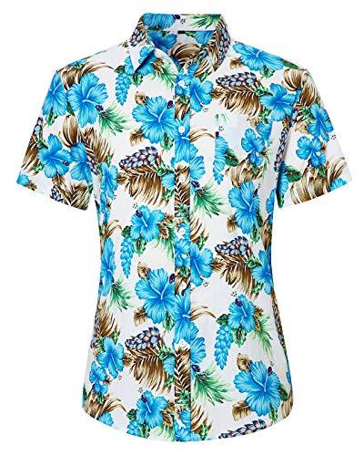 Loveternal Camicia Manica Corta Uomo Funky Flower Shirt Estate 3D Stampato Fiori Camice Hawaiana Casuale Hawaiian Shirt M