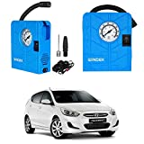 Oshotto/Windek 12V Portable Tire Inflator/Compressor with LED Light Compatible with Hyundai Accent (Blue)