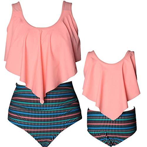 2pcs Girls Flounce Bikini Top High Waist Bottom Swimsuit Print Mother Daughter Bathing Suit