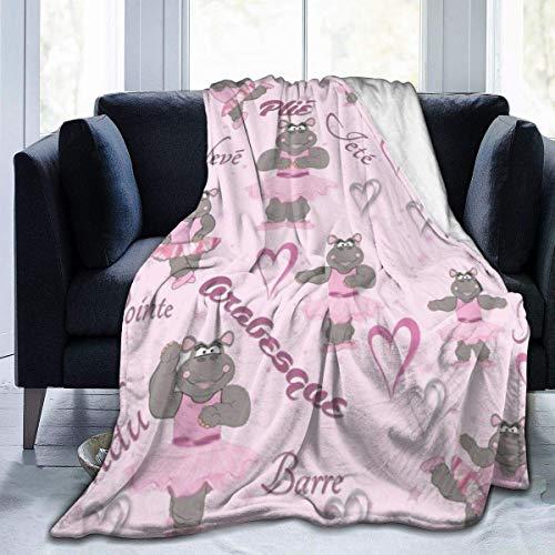 Wobuzhidaoshamingzi fleecedeken, flanel, Hippo Ballerina Dancer dekbed, microvezel, zeer zacht en comfortabel