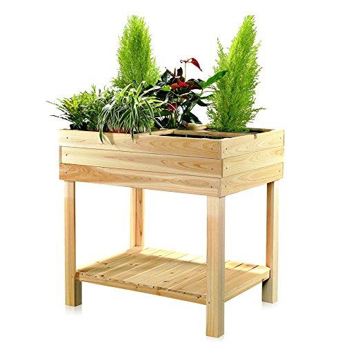 Melko Hochbeet aus Holz – Pflanzkasten für Indoor, Balkon, Terrasse und Garten, Frühbeet mit 4 Fächer, mit Ablage, ideal zum Anpflanzen, 80 x 60 x 80 cm