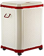 Primeway® Setag XL Multipurpose Laundry Hamper Utility Storage Basket with Lid on 4 wheels, 50 Litres, Red