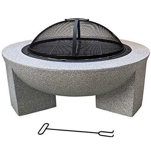Hoguera para jardín Parrilla Chimenea Resistente al Fuego 71 cm de diámetro Ideal para Usar como Barbacoa con un Borde de Piedra Artificial