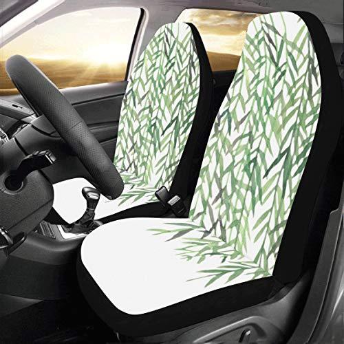 Plsdx Green Willow Weiche Lange Zweige Benutzerdefinierte Neue Universal Fit Auto Drive Autositzbezüge Schutz Frauen Automobil Jeep LKW SUV Fahrzeug Full Set Zubehör Erwachsene Baby (Set Von 2 Vorne)