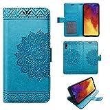 betterfon | Huawei Y6 2019 Hülle Handy Tasche Handyhülle Etui Wallet Hülle Schutzhülle mit Magnetverschluss/Kartenfächer für Y6 2019 Mandala Blau