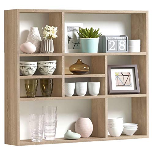 FMD furniture Wandregal, Holz, Eiche, ca. 90 x 78 x 16 cm