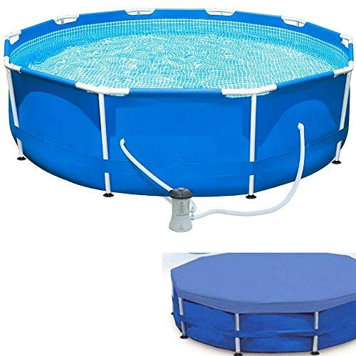 Above Ground Pool with Pump 10 Foot Round Swimming Pool Durable Filter Pump and Debris Cover Metal Frame Best Above Ground Pool Summer for Kids and Adults Swim Center & eBook by NAKSHOP