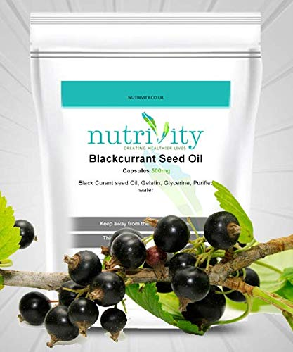Blackcurrant Seed Oil 500mg Softgel Capsules Nutrivity Natural Supplement (120)