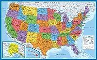 """ラミネート加工USA地図 - 18インチ×29インチ - 米国のウォールチャートマップ - 米国製 - 2020年更新 18"""" x 29"""""""
