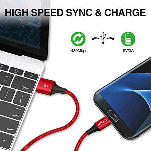 AVIWIS Micro USB Kabel, [4Pack 0.3M 1M 2M 3M] Nylon Micro USB Ladekabel Android Schnellladekabel für Samsung Galaxy S7 S6 J7 Note 5, Xiaomi, Huawei, Wiko, Nexus, Nokia, Kindle, Echo Dot -Rot