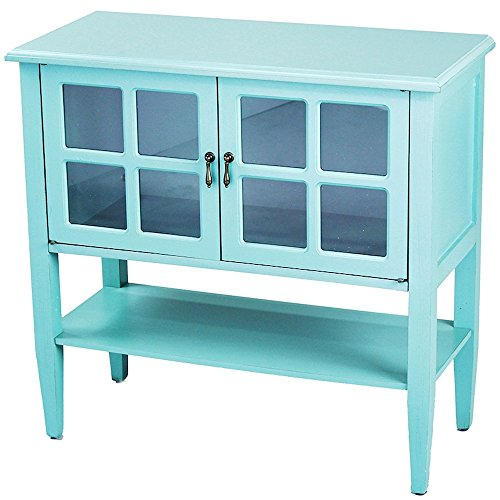 Heather Ann Creations Modern 2 Door Accent Console Cabinet with 4 Pane Glass Insert and Bottom Shelf Turquoise