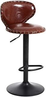 $113 » Fine Bar Stool, Set of 2 Armless Air Lift Adjustable Seat Height with Footrest, PU Leather Cushion and Backrest for Kitchen Dining Living Bistro Pub Counter Back Barstool