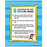 5 Lessons in Life from Dr. Seuss Wall Art Prints - Unframed 8x10 in - Inspirational Quotes Decor and Cute Signs Poster for Kids Room - Motivational Picture for Children Bedrooms
