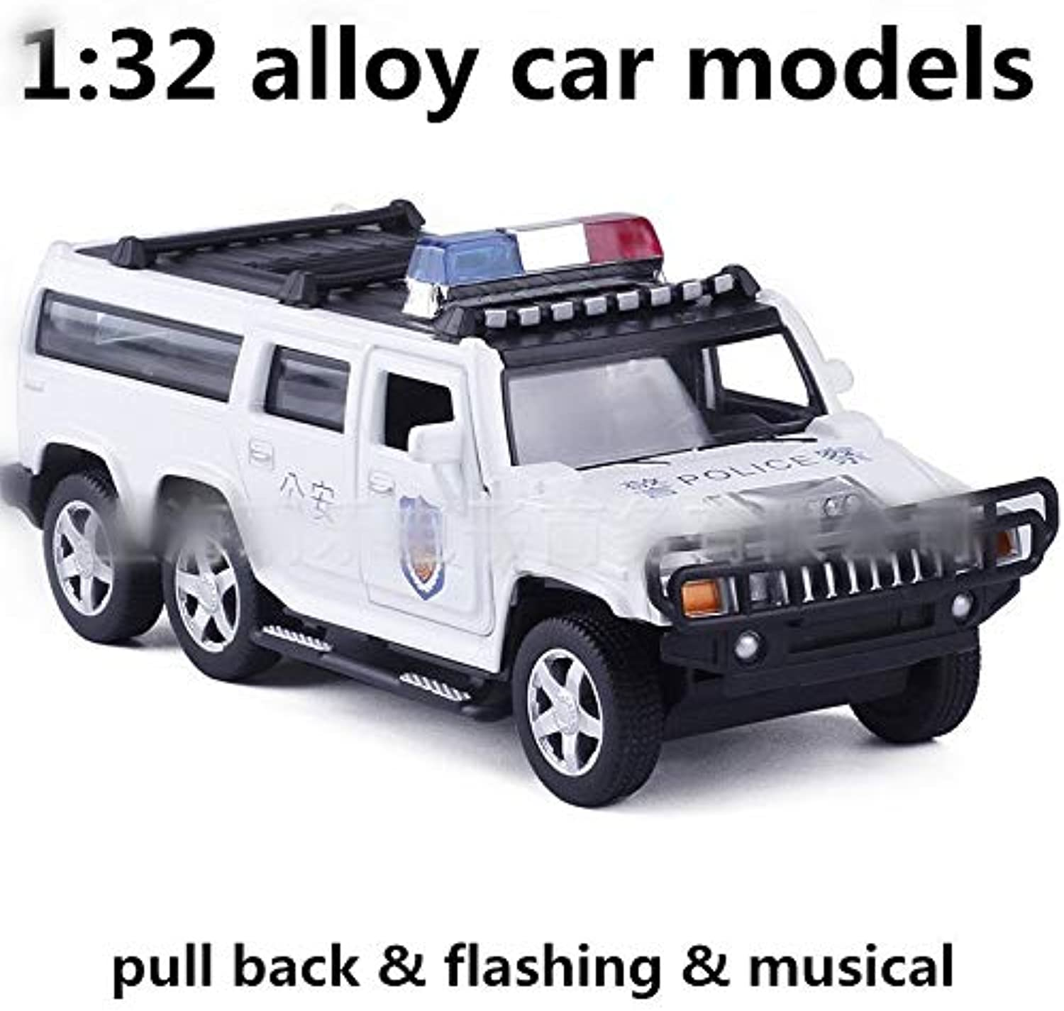 Generic 1 32 Alloy car Models,high Simulation 6 Rounds of Hummer,Toy Vehicles,Metal diecasts,Pull Back&Flashing&Musical,