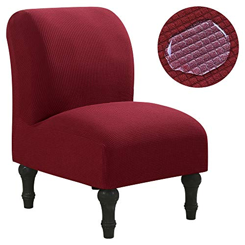 SearchI Armless Accent Chair Cover Slipcover, Stretch Spandex Water-Repellent Chair Covers Furniture Protector Covers Removable Washable for Living Room Hotel(Wine Red)