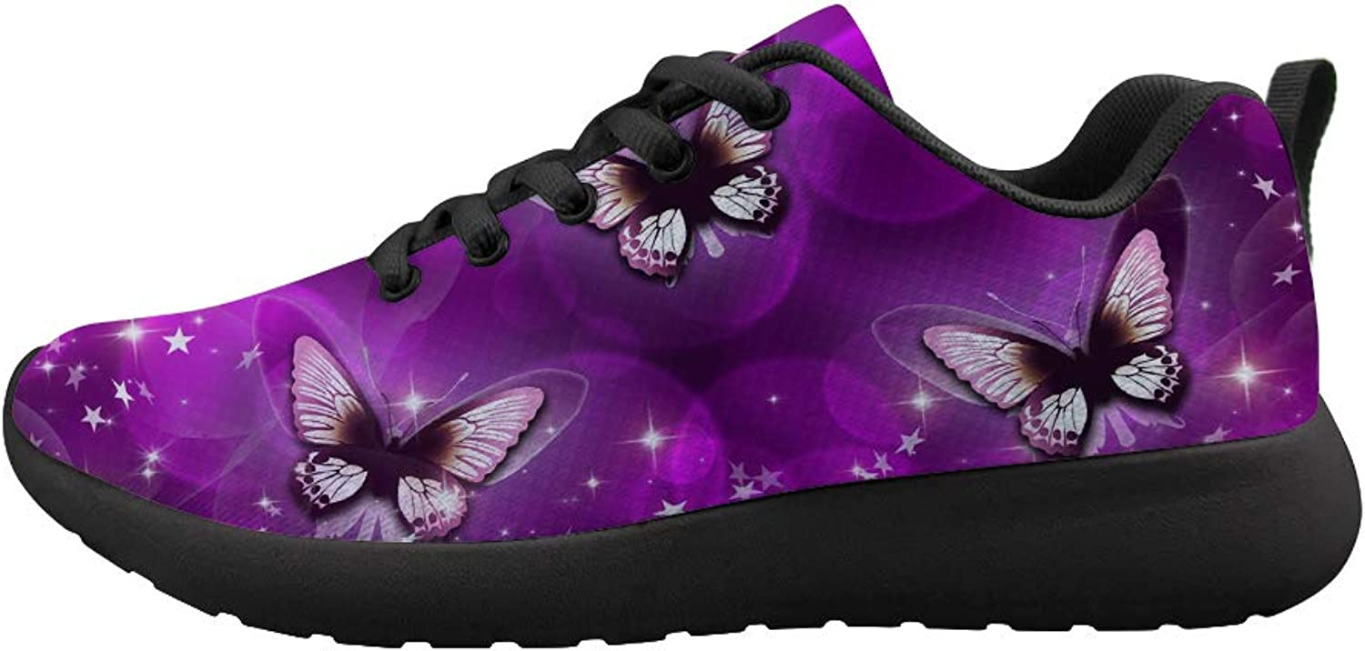 Owaheson Cushioning Sneaker Trail Running shoes Mens Womens Purple Psychedelic Stars World Magic Dance Butterfly