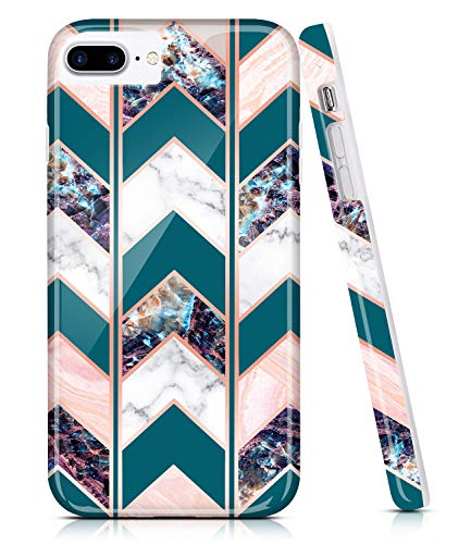BAISRKE Shiny Rose Gold Wave Geometric Marble Case Slim Soft TPU Rubber Bumper Silicone Protective Phone Case Cover Compatible with iPhone 8 Plus / 7 Plus / 6 Plus 6s Plus [Teal]