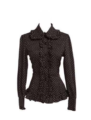 an*tai*na* antaina Negra Algodón Volantes Encaje Lunares Polka Dot Victoriana Lolita Casual Camisa Blusa de Mujer,XXL